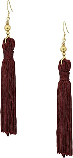 Polished Gold Bead and Maroon Tassel Fishhook Earrings