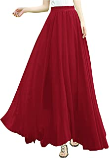43fa094735e v28 Women Full Ankle Length Elastic Pleated Retro Maxi Chiffon Long Skirt