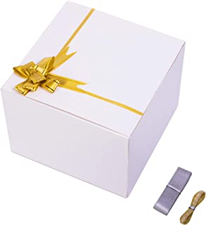 SHIPKEY 10PCS White Cardboard Gift Boxes with lids 8x8x6 Inch with Greeting Cards and Pull Bows(Golden Ribbons) | for Party, Wedding, Christmas, Holidays, Birthdays, Gift Wrap, and All Other Occasions