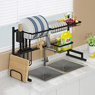 Dish Drainer,Dish Drying Rack Over The Sink,Premium 304 Stainless Steel Dish Drainer Shelf,Save Space,with Cutlery Basket/...