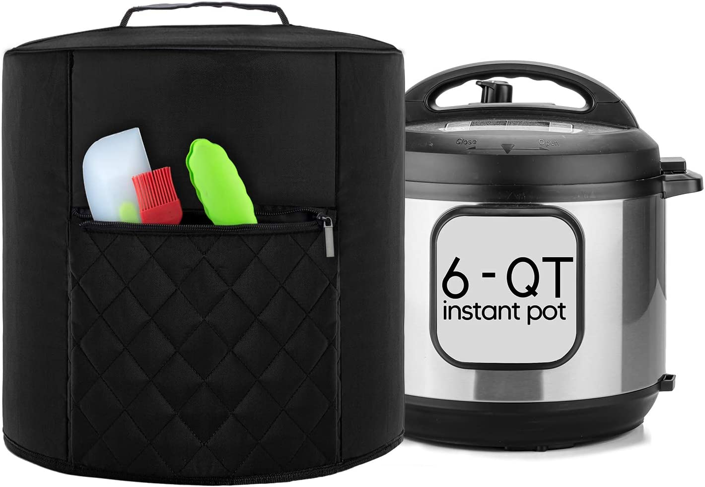 Luxja Cover Compatible with 6 Quart Instant Pot, Pressure Cooker Cover with Zipper Pocket (Compatible with 6 Quart Instant Pot), Black