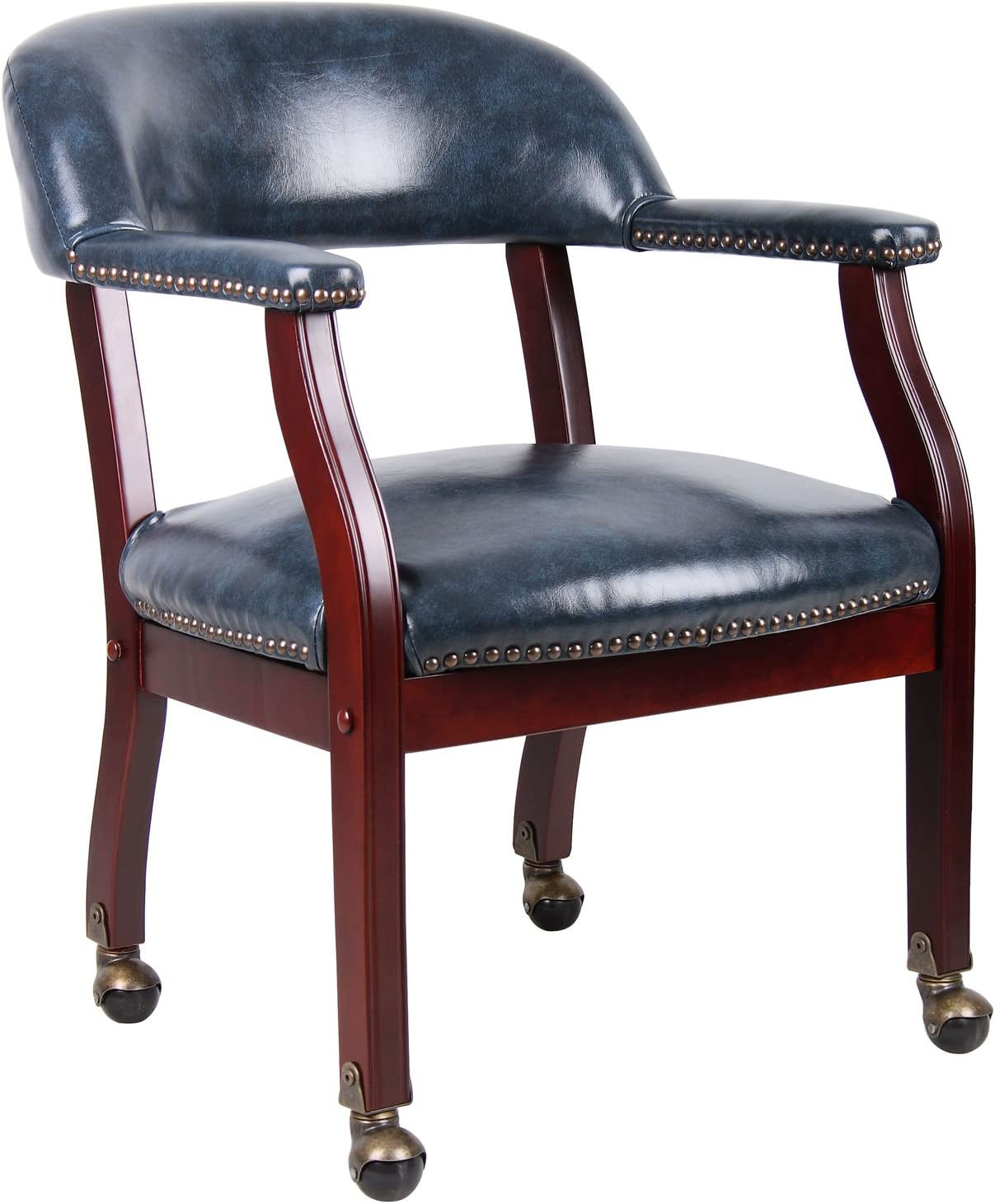 Boss Captain's Chair in Max 77% OFF W Blue Vinyl Casters New arrival