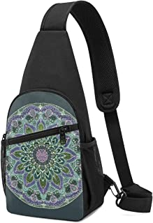 Bolso de mano con diseño de mandala en color rosa y morado oscuro con correa para el hombro, mochila para el pecho y el pe...