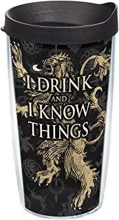 Tervis HBO Game of Thrones - House Lannister Insulated Travel Tumbler with Wrap & Lid, 16 oz - Tritan, Clear