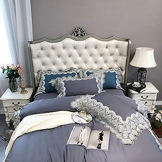 XFSE Juego de cama nórdico de algodón de alta calidad de color azul satinado y plata bordada, siete juegos de ropa de cama estilo colcha regalo de hotel (tamaño: 220 x 240 cm)
