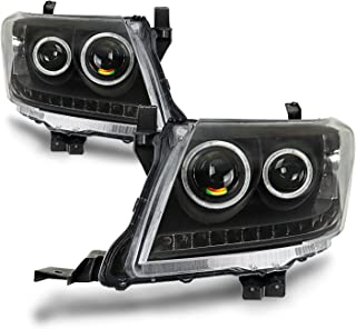 PAIR Headlights Black DRL HALO Projector Angel Eyes Fits Toyota HILUX 2011-2015 Black Housing