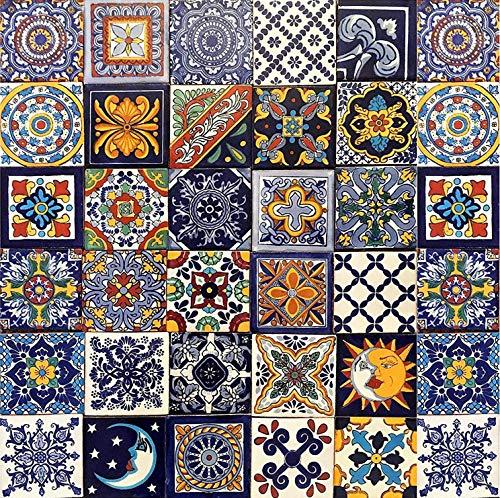 Cerames – Horacio – Azulejos Mexicanos decorados| 10x10cm, 30 piezas | Azulejos artesanales de ceramica Talavera, hecho y pintado a mano, para baño y cocina