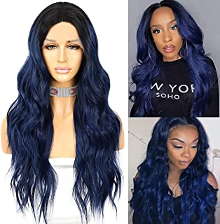 Sapphirewigs Lace Front Wig Synthetic Hair Pre Plucked T-Part Long Wave 150% Density Ombre Blue Hair Wigs for Black Women ...