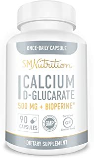 Calcium D-Glucarate 500mg 90 Vegetarian Capsules (3-Month Supply) CDG for Liver Detox & Cleanse, Weight Los...
