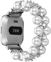 Ritastar for Fitbit Versa Bands Bracelets for Women Handmade Elastic Beaded Jewelry Replacement Strap Accessories with Rhinestones Pearls for Sport Fitbit Versa Lite Smart Watch Silver White