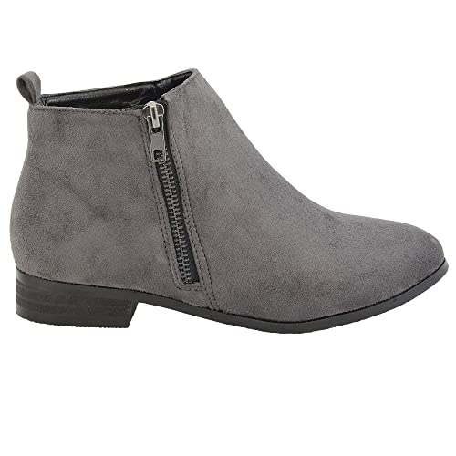 c896f6f92eeeb ESSEX GLAM Ladies Chelsea Block Heel Riding Biker Gold Zip Womens Flat Ankle  Boots Shoes Size