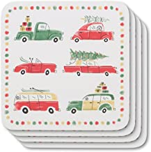 Now Designs 1780045 Coasters, Set of Four, Holiday Cars Design, 4 Piece