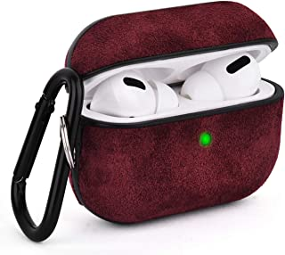 Airpods Pro Case, V-MORO Airpod Pro Leather Case Cover Genuine Suede Leather Airpod 3 Case for Airpods Pro [Front LED Visible] Charging Case Protective Skin Brugundy Women
