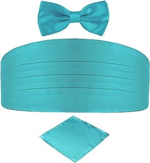 DonDon set di 3 pezzi da uomo, contenente fascia da smoking, papillon e fazzoletto da taschino, tutti dello stesso colore ...