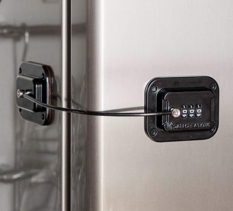 Keyless Refrigerator Lock - Heavy Duty Combination Fridge Lock, Easy to Install and Use (Black)