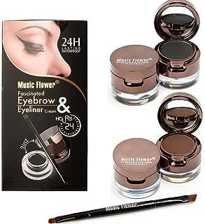 Makeupstore Eyebrow Kit Dark Brown, 4 in 1 Gel Eyeliner and Eyebrow Powder Kit Brown Black Water-Proof with Eye Liner Brush