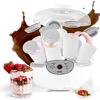 SEVERIN Yogurtera, Incl. 14 Tarros de 150 ml, Marcador de Memoria, JG3519, Blanco/Rojo: Amazon.es: Hogar