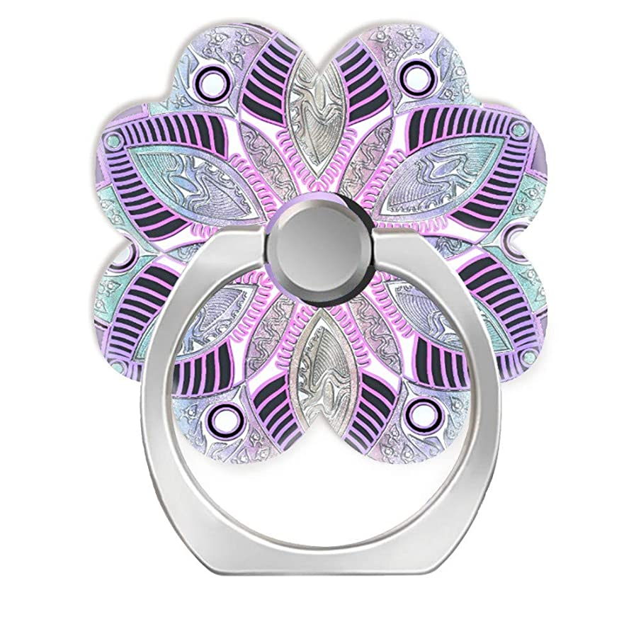 360 Degree Finger Stand Cell Phone Ring Holder Car Mount with Hook for Smartphone-Lavender Purple yin yang Lotus Flower Mandala