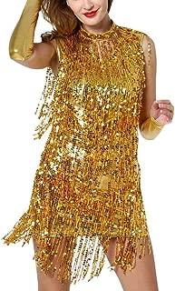 Women Dance Dresses Hang Neck Sequin Tassel Skirt Sleeveless Turtleneck Latin Dance Costume Sexy Club Dress A-Line