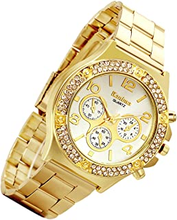 Men's Gold Watch Costume Hip Hop Luxury Bling Double Dual Rhinestone Bezel [Upgraded] Japan Quartz Movement 30M Waterproof Dress Casual Wrist Watch