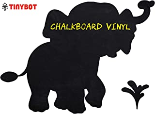"""Tinybot - Cute Elephant Zoo Animal Removable Blackboard Chalkboard Adhesive Wall Vinyl Decal Decor Sticker for Baby Kids Nursery Bedroom Living Room - Color Black - 10""""x15"""" Inches"""
