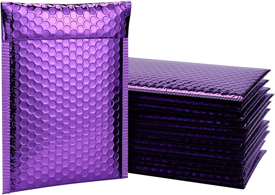 QIQIDAI Purple Poly Popular products Bubble New Orleans Mall Metallic Matte Mailers