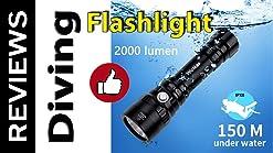 Pasamer Waterproof Underwater 2000LM 6500K LED Light USB Charging Diving Fill Lights 60m Metal