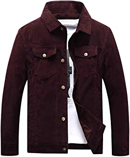 Chartou Men's Vintage Button-Front Slim Fit Corduroy Denim Jacket