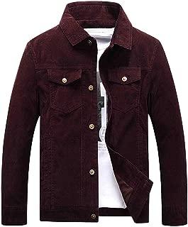 Chartou Men's Vintage Button-Front Slim Fit Corduroy Denim Jacket