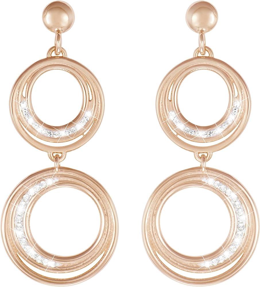 Stroili  orecchini per donna in ottone rosato e cristalli 1628282
