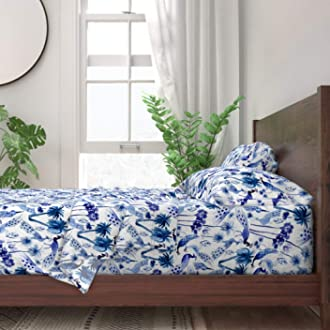 Chinoiserie Asian Blue Pastel Blue 100/% Cotton Sateen Sheet Set by Roostery