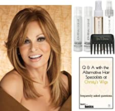 Bundle - 7 items: Bravo by Raquel Welch Human Hair Wig, 15 Page Christy's Wigs Q & A Booklet, Luxury Shampoo & Conditioner, Heat Treat Thermal Spray, Smooth Treatment Mist, & Wide Tooth Comb (Color Selected: ) Color Selected: R9HH