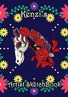 Kenzi's Artist Sketchbook: Kenzi Personalised Custom Name A4 Sketchbook / Sketchpad / Drawing Pad / Workbook - Flower Skul...