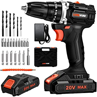 Sponsored Ad – LOMVUM 18V Brushless Cordless Drill (20V Max) Battery Powered Drill with 2 * Lithium-ion Batteries 2.0Ah, 2...