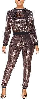 Women Sexy 2 Piece Outfit Glitter Long Sleeve Crewneck Blouse Top Slim Fit Pants Set