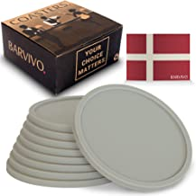 Barvivo Drink Coasters Set of 8 - Tabletop Protection for Any Table Type, Wood, Granite, Glass, Soapstone, Marble, Stone Tables - Perfect Grey Soft Coaster Fits Any Size of Drinking Glasses.