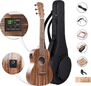 Caramel 30 inch 6 Strings CB204G All Solid Acacia Wood LCD color display Electric Ukulele Guitalele Mini Travel Guitar Starter Pack Bundle Padded Gig Bag, Strap and Wall hanger