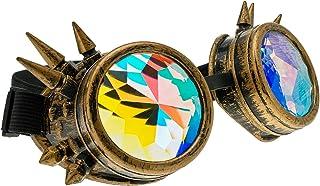 4sold Kaléidoscope Cyber Steampunk Lunettes de Natation Rave Vintage Style Victorien Gothique comme Lunettes de Soleil