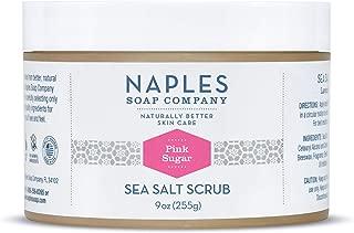 Naples Soap Natural Sea Salt Scrub - Detoxifying Shea Moisturizing Scrub Made With No Harmful Ingredients - Natural Skin Care Removes Dry, Dull Flakes Revealing Radiant Skin - 9 oz, Pink Sugar