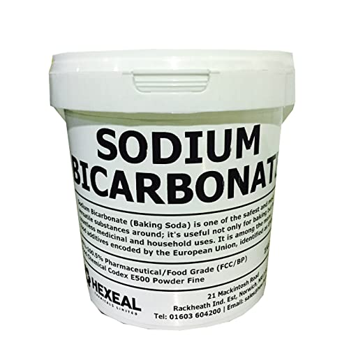 SODIUM BICARBONATE of Soda | 1, 2.5, 5, 10, 15, 20, 25KG BUCKETS & BAGS | 100% FCC Food Grade | Bath, Baking, Cleaning | Hexeal® Brand (1KG, BUCKET)