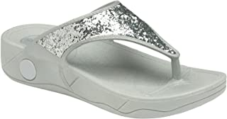 Dunlop Ladies Low Wedge Fit Flip Flop Toe Post Crystal Sandals Shoes Size 3-8