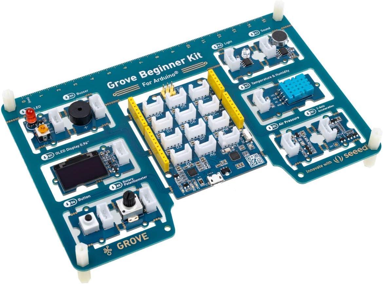 seeed studio Grove Beginner Kit Arduino Starter Kit - All-in-One Arduino UNO-kompatibles Board mit 10 Arduino Sensor und 12 Arduino-Projekten für Anfänger- und Steam-Ausbildung