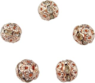50PCS 8MM Rose Gold Crystal Rondelle Ball Shape Spacer Beads Fire Ball for Jewelry Making & DIY (ZQ-1003-8)