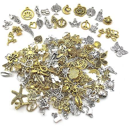 Nsiwem Breloques 200 Pièces Breloques pour la Confection de Bijoux Charms Pendentifs Accessoires de Bracelet pour Faire des Boucles d'oreilles Colliers Bracelets Antique Argent et Antique Or