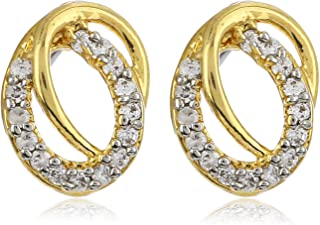 Estele Non-Precious Metal 24kt Gold and Silver Tone Plated AD Stone Stud Earrings for Women