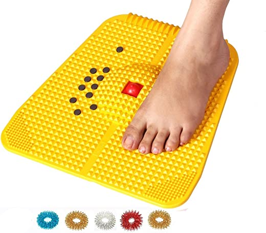 Acupressure Reflexology Magnetic Pyramidal Therapy Power Pain Relief Energy Foot Health Mat Set of 1 + Sujok Rings Set of 5 L X W X H – 30 X 30 X 7 cm Yellow Mat