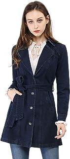 جاكيت جينز جينز طويل من Allegra K للنساء مع طية صدر مطوية وحزام