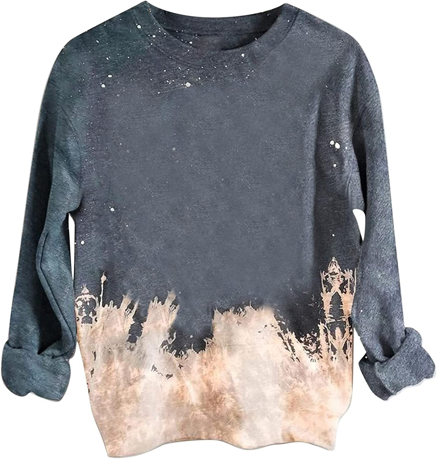 Womens Sweatshirts Tie-dye Printing Long Sleeve Round Neck Casual Comfy Pullover Tops Autumn Daily Blouses