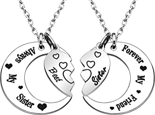 JJIA Sister Necklace, 2 Pcs Moon Necklaces for Big Sster Little Sister Thanksgiving Gifts Birthday Gifts
