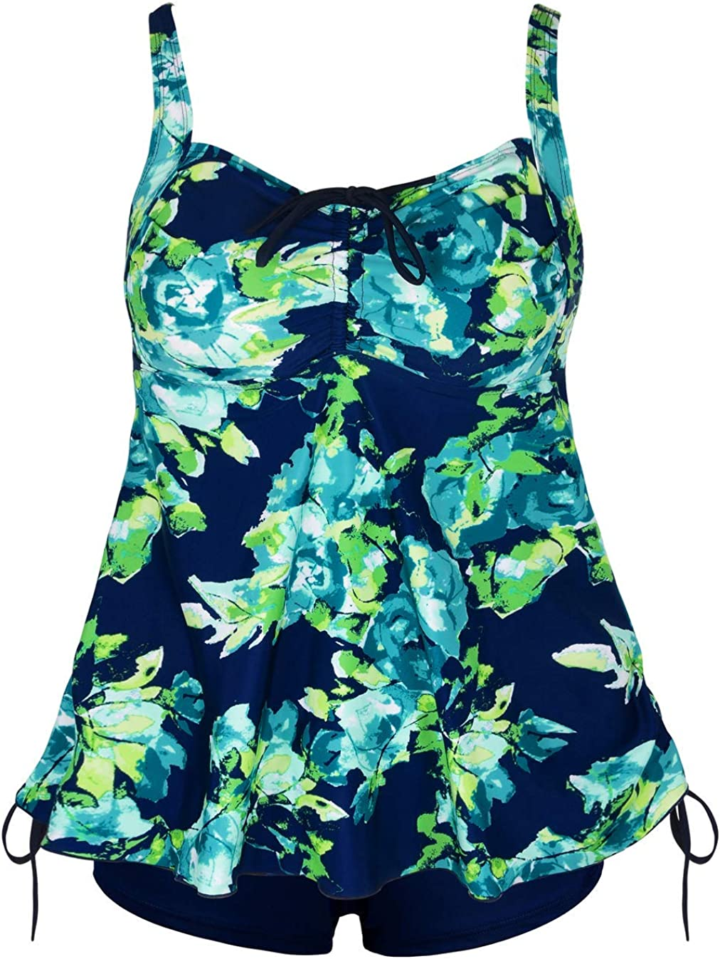 Septangle Women Plus Size Swimsuit Tummy Control Bathing Suit Tank Top Two Piece Tankini Sets Swimwear